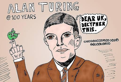 Alan Turing Caricature by Yasha Harari