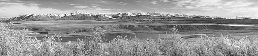 Alaska Range Pano BW by Peter J Sucy