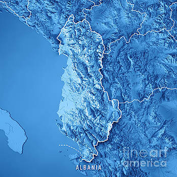 Albania Country 3D Render Topographic Map Blue Border by Frank Ramspott