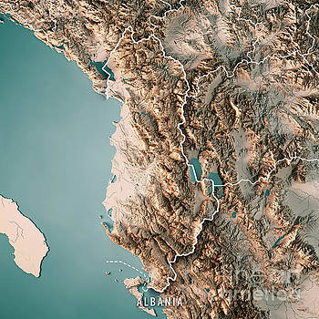 Albania Country 3D Render Topographic Map Neutral Border by Frank Ramspott