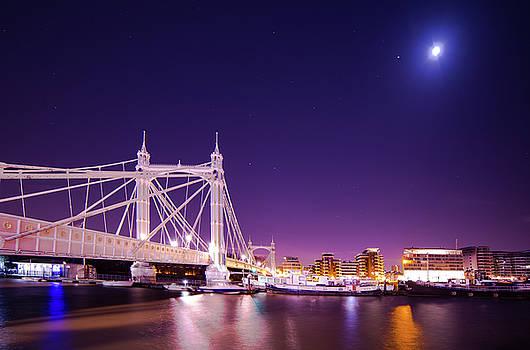Albert Bridge Moon London  by Mariusz Czajkowski