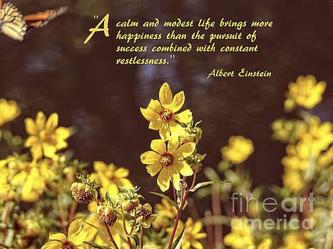 Albert Einstein Secret to Happiness Quote by Ella Kaye Dickey