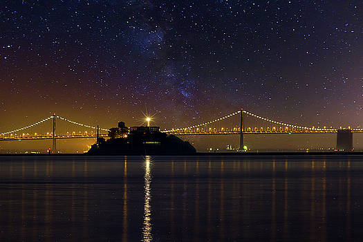 Alcatraz Island Under the Starry Night Sky by David Gn