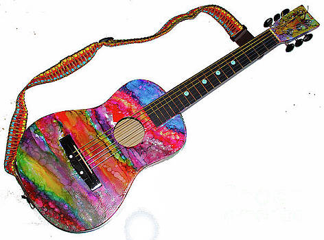 Alcohol Ink Guitar by Alene Sirott-Cope