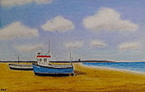 Aldeburgh Beach, Suffolk - Oil Pastel   by Peter Farrow