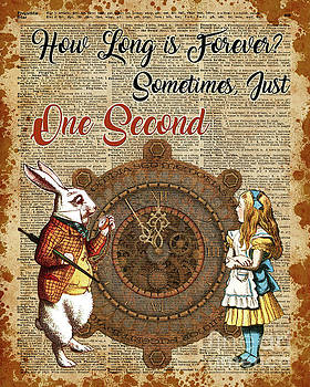 Alice and White Rabbit Vintage Dictionary Art Quote by Anna W