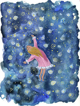 Alice flying inthe night sky by Claud Brown