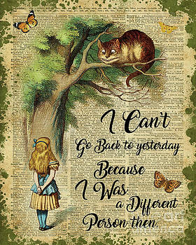 Alice in Wonderland Quote,Cheshire Cat,Vintage Dictionary Art by Anna W