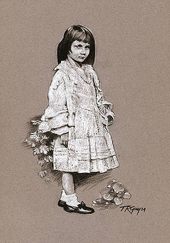 Alice Liddell drawing after a Charles Dodgson Photograph by Terry Guyer