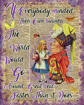 Alice with The Duchess Vintage Dictionary Art by Anna W