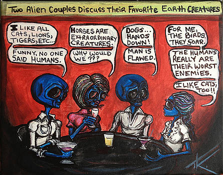 Alien couples discuss the Earths creatures over drinks by Similar Alien
