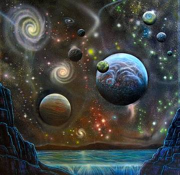 Alien Landscape with Galaxies Planets and Moons by Sam Del Russi