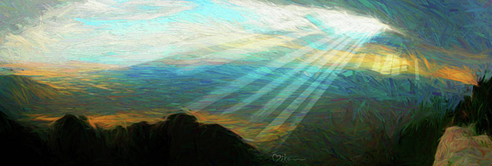 Mother Ship Sunset - Sandia Crest by Miko At The Love Art Shop