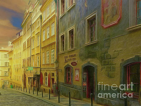 All downhill from here - Prague Street Scene by Leigh Kemp