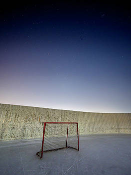 All is quiet late at outdoor rink. by Darcy Michaelchuk