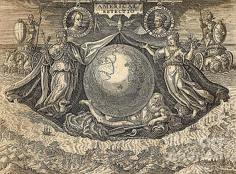 Theodore de Bry - Allegory of West Indies or Americas, with portraits of navigators Columbus and Vespucci
