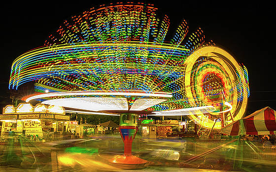 Allen County Fair Rides At Night by Dan Sproul