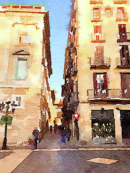 Alley in sunny Barcelona by Anita Van Den Broek