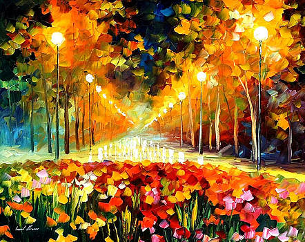 Alley Of Roses - PALETTE KNIFE Oil Painting On Canvas By Leonid Afremov by Leonid Afremov
