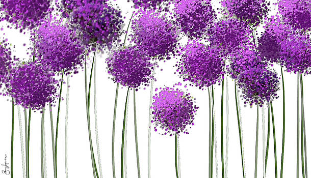 Alliums Flower Art - Purple And Gray Art by Lourry Legarde