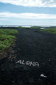 Aloha on the Punalu'u beach by Mary Lee Dereske
