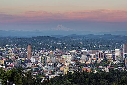 Alpenglow over Portland Oregon Cityscape by David Gn