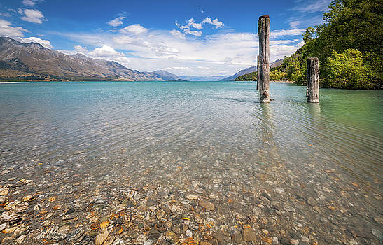 Alpine scenery from Dart River bed in Kinloch, New Zealand by Daniela Constantinescu