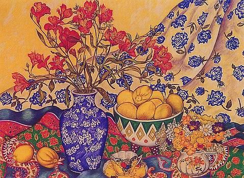 Richard Lee - Alstroemerias, Lemons and Scarves