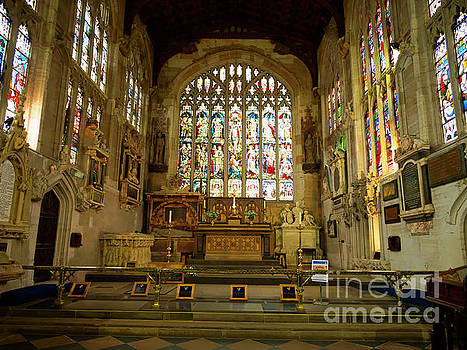 Altar and stained glass windows in Holy Trinity Church Stratford by Louise Heusinkveld