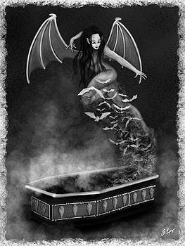 Always Awake - Black and White Fantasy Art by Raphael Lopez
