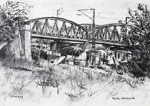 Martin Stankewitz - Am Nordbahnhof Stuttgart,railroad bridge Stuttgart, urban landscape