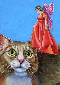 Amazed Cat with Red Fairy by Rachel Armington