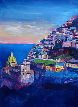 Amazing Amalfi Coast at Sunset in Italy by M Bleichner
