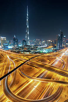 Amazing night dubai downtown skyline with skyscrapers and beautiful sky, Dubai, United Arab Emirates by Marek Kijevsky