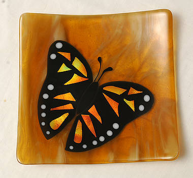 Amber Monarch Butterfly Plate by Sandy Feder