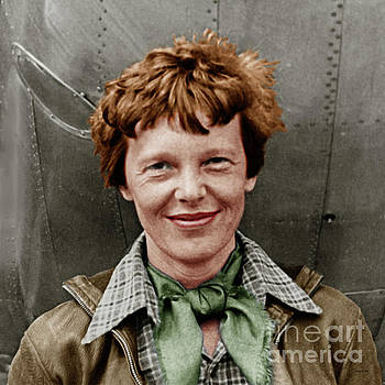 Wingsdomain Art and Photography - Amelia Earhart American Aviation Pioneer Colorized 20170525 square