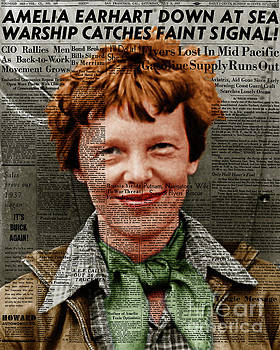 Wingsdomain Art and Photography - Amelia Earhart American Aviation Pioneer Colorized 20170525 Vertical With Newspaper