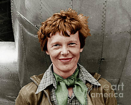 Wingsdomain Art and Photography - Amelia Earhart American Aviation Pioneer Colorized 20170525