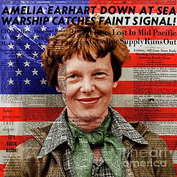 Wingsdomain Art and Photography - Amelia Earhart American Aviation Pioneer Colorized 20170525a Square With Newspaper And American Flag