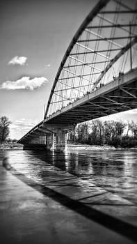 Amelia Earhart bridge in b/w by Dustin Soph