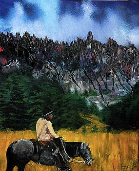 American Cowboy and Horse in The Grand Tetons Wyoming by Gregory Allen Page