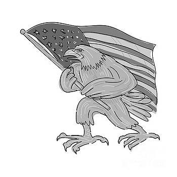 American Eagle Waving USA Flag Cartoon by Aloysius Patrimonio
