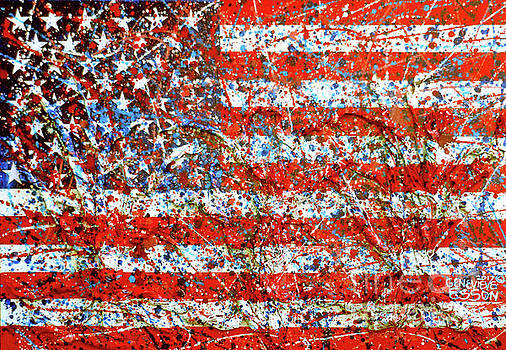 American Flag Abstract 2 With Trees  by Genevieve Esson