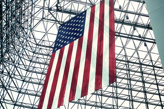 American Flag in Kennedy Library Atrium - 1982 by Thomas Marchessault