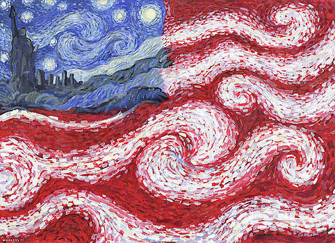American Flag No. 1 Starry American Night by Randal Huiskens