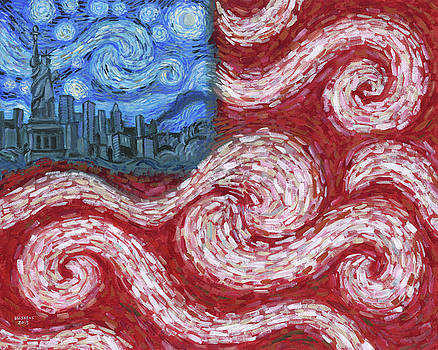 American Flag No. 2 Starry American Night by Randal Huiskens