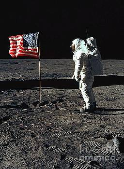 American Flag on the Moon by Pd