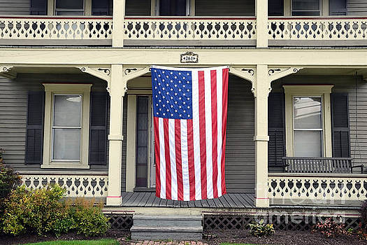 American Flag on Vermont Porch by Catherine Sherman