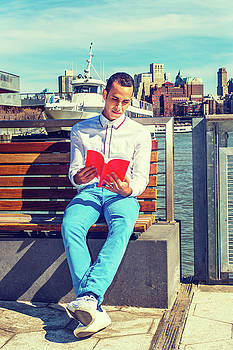 Alexander Image - American Man Reading Book Outside in New York