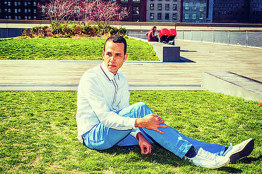 Alexander Image - American Man Relaxing on Green Lawn in New York